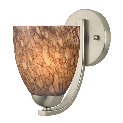 Design Classics Lighting Sconce with Brown Art Glass in Satin Nickel Finish 585-09 GL1016MB