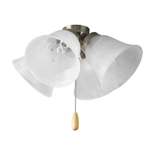 Progress Lighting Progress Light Kit with Alabaster Glass in Brushed Nickel Finish P2643-09