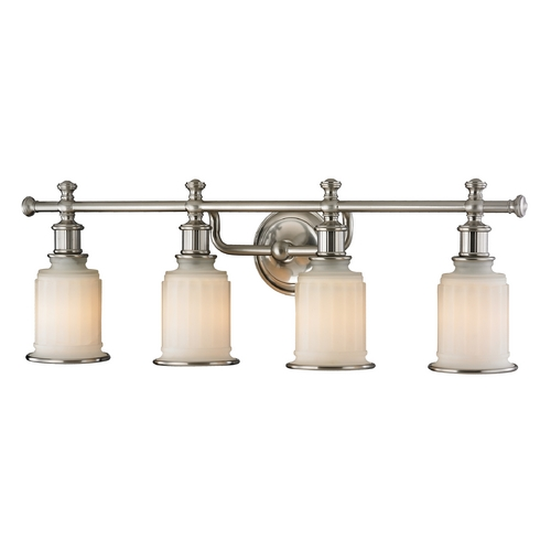 Elk Lighting Elk Acadia Bathroom Wall Light with White Glass Shades 52003/4