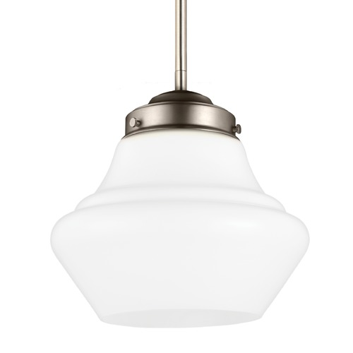 Feiss Lighting Schoolhouse Mini-Pendant Light Opal Glass Satin Nickel 10-Inch Wide by Feiss Lighting P1404SN