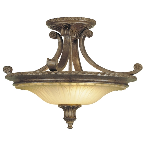 Feiss Lighting Semi-Flushmount Light with Beige / Cream Glass in British Bronze Finish SF193BRB