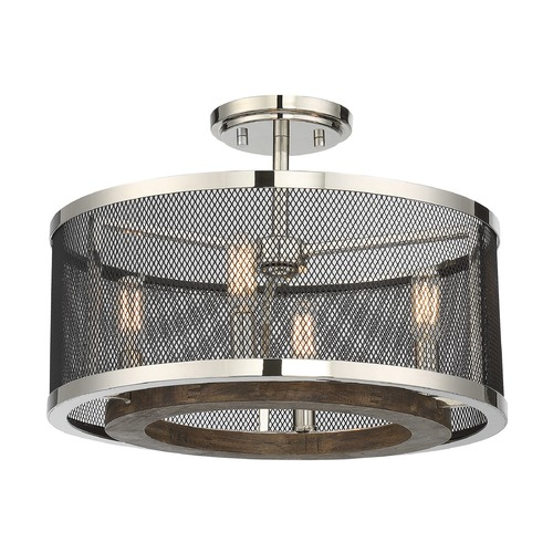 Savoy House Savoy House Lighting Valcour Polished Nickel W/graphite and Wood Accents Semi-Flushmount Light 6-3092-4-73