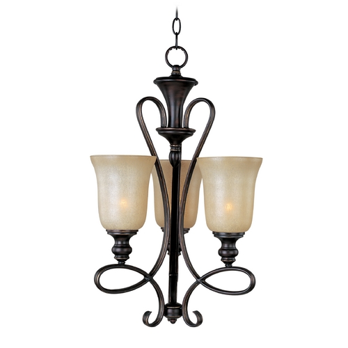 Maxim Lighting Mini-Chandelier with Beige / Cream Glass in Oil Rubbed Bronze Finish 21304WSOI