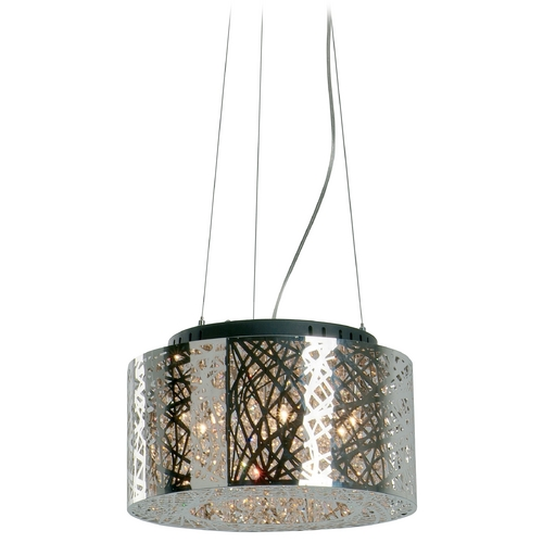 ET2 Lighting Modern Pendant Light in Polished Chrome Finish E21309-10PC