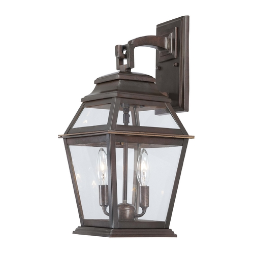 Minka Lavery Outdoor Wall Light with Clear Glass in Architectural Bronze Finish 9282-171