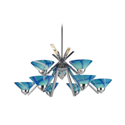 Elk Lighting Modern Chandelier with Blue Glass in Polished Chrome Finish 1476/6+3CAR