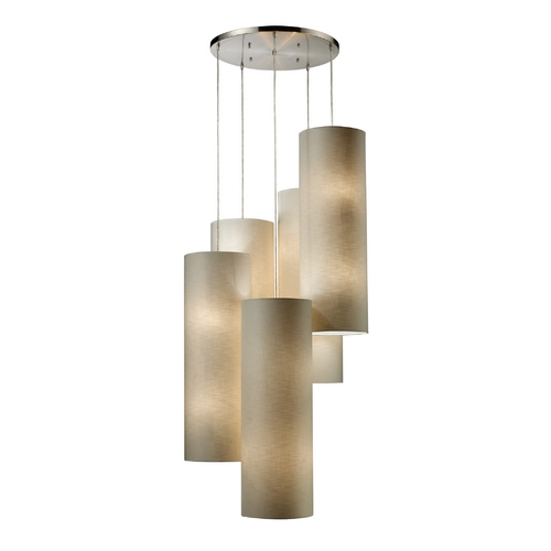 Elk Lighting Multi-Light Pendant Light with Beige / Cream Shades and 20-Lights 20160/20R