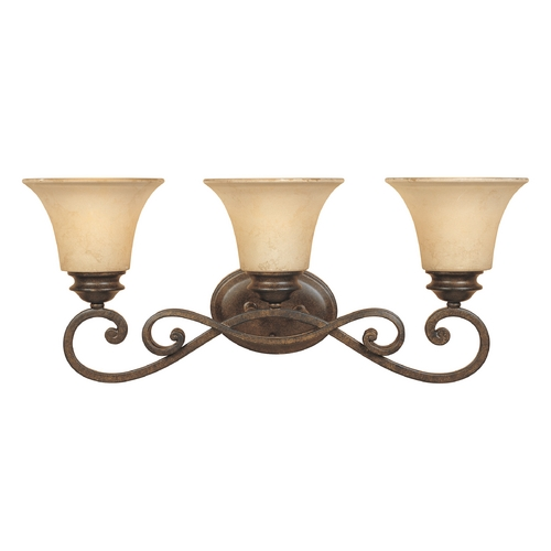 Designers Fountain Lighting Bathroom Light with Amber Glass in Forged Sienna Finish 81803-FSN