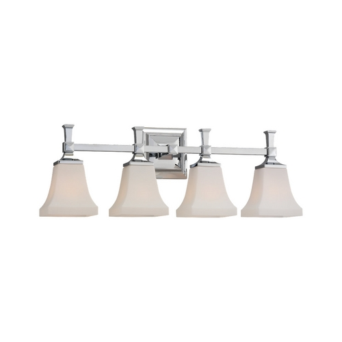 Sea Gull Lighting Modern Bathroom Light with White Glass in Chrome Finish 44708-05