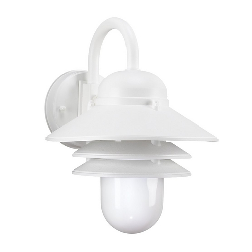 Sea Gull Lighting Outdoor Wall Light with White Glass in White Finish 83055-15