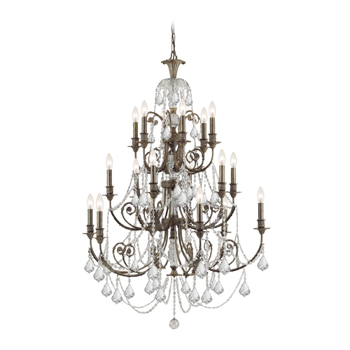 Crystorama Lighting Crystal Chandelier in English Bronze Finish 5117-EB-CL-SAQ