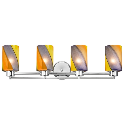 Design Classics Lighting Modern Bathroom Light with Art Glass in Chrome Finish 704-26 GL1015C