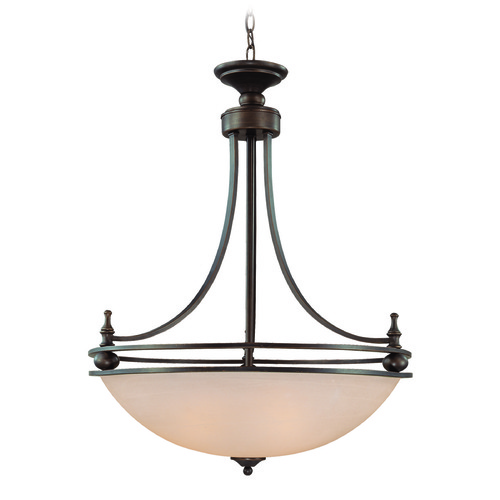 Jeremiah Lighting Jeremiah Seymour Oiled Bronze Pendant Light with Bowl / Dome Shade 25434-OB
