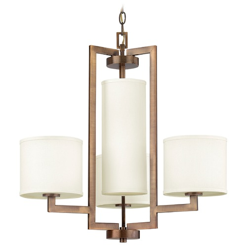 Hinkley Lighting Modern Pendant Light with White Shades in Brushed Bronze Finish 3209BR