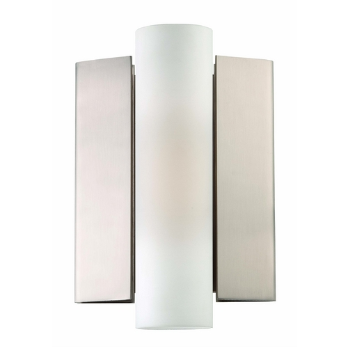 Nuvo Lighting Modern LED Sconce Wall Light with White Glass in Brush Nickel Finish 62/101