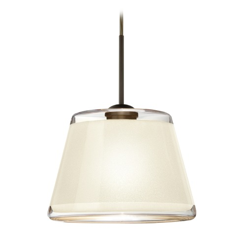 Besa Lighting Besa Lighting Pica Bronze LED Mini-Pendant Light with Empire Shade 1JT-PIC9WH-LED-BR