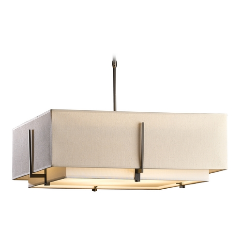 Hubbardton Forge Lighting Hubbardton Forge Lighting Exos Dark Smoke Pendant Light with Square Shade 139635-07-PFRA