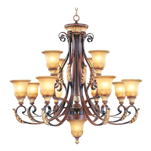 Livex Lighting Livex Lighting Villa Verona Bronze with Aged Gold Leaf Accents Chandeliers with Center Bowl 8559-63