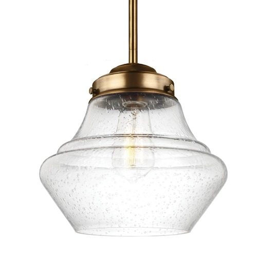 Feiss Lighting Schoolhouse Mini-Pendant Light Seeded Glass Brass 10-Inch Wide by Feiss Lighting P1405AGB