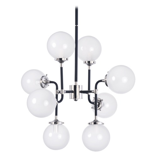 Maxim Lighting Maxim Lighting Atom Black and Polished Nickel Pendant Light with Globe Shade 24725WTBKPN