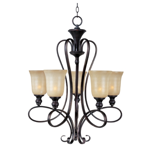 Maxim Lighting Chandelier with Beige / Cream Glass in Oil Rubbed Bronze Finish 21305WSOI