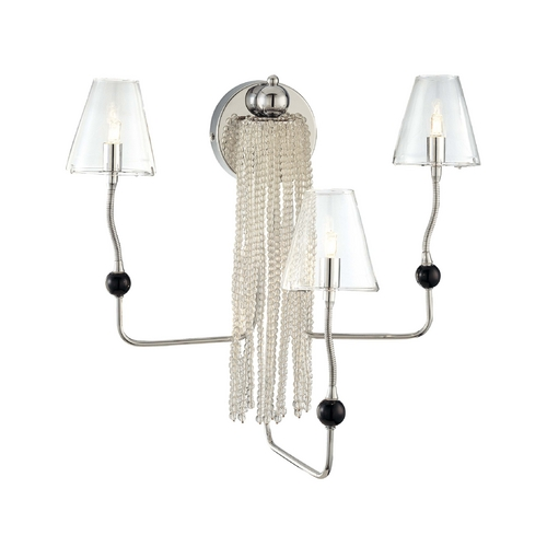 George Kovacs Lighting Modern Sconce Wall Light with Clear Glass in Chrome Finish P873-077
