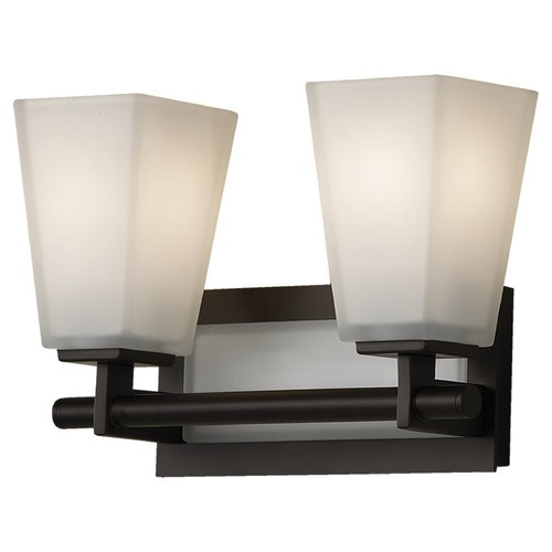 Feiss Lighting Modern Bathroom Light with White Glass in Oil Rubbed Bronze Finish VS16602-ORB