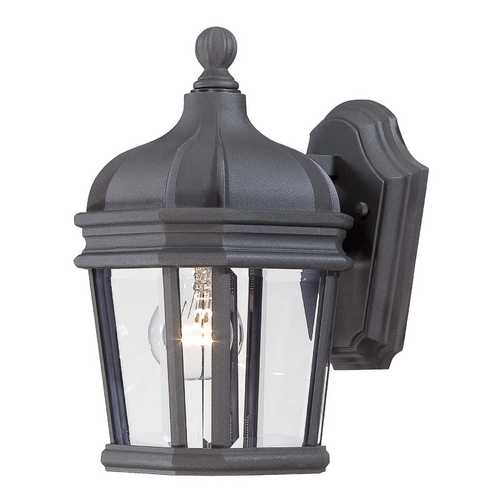 Minka Lighting Outdoor Wall Light with Clear Glass in Black Finish 8690-66