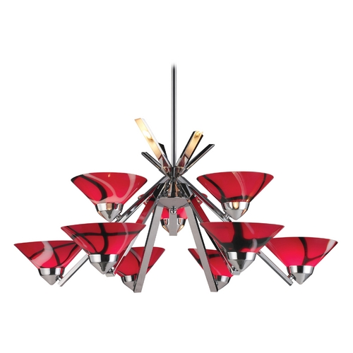 Elk Lighting Modern Chandelier with Red Glass in Polished Chrome Finish 1476/6+3MAR