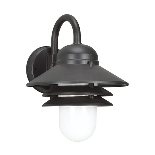 Sea Gull Lighting Outdoor Wall Light with White Glass in Black Finish 83055BLE-12