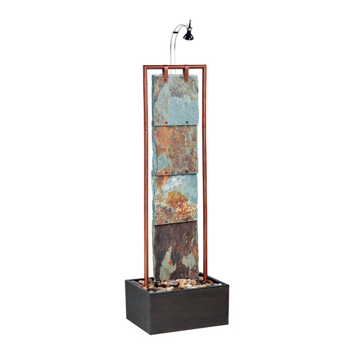 Kenroy Home Lighting Indoor Fountain in Natural Slate Wtih Copper Finish 50151COP