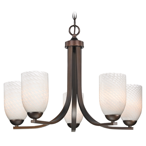 Design Classics Lighting Bronze Chandelier with White Art Glass Shades and Five Lights 584-220 GL1020D
