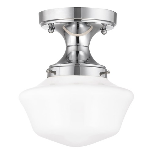 Design Classics Lighting 8-Inch Wide Chrome Schoolhouse Ceiling Light  FDS-26 / GA8