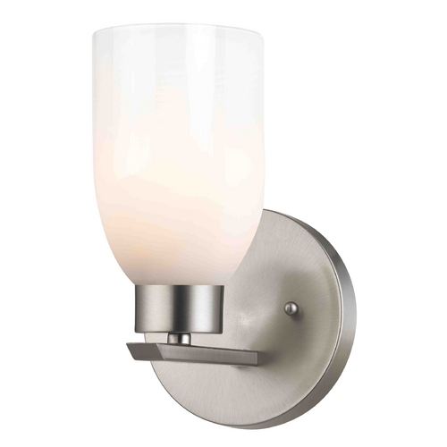 Design Classics Lighting Modern Sconce Wall Light with White Glass in Satin Nickel Finish 1124-1-09 GL1024D