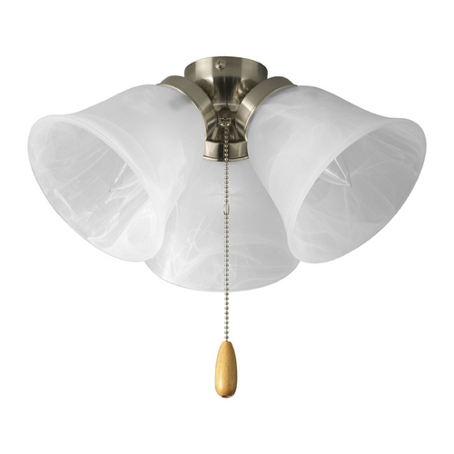 Progress Lighting Progress Ceiling Fan Light Kit with Alabaster Glass in Brushed Nickel P2642-09