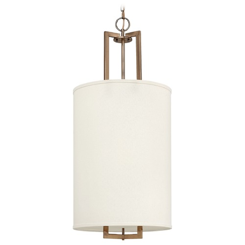 Hinkley Lighting Modern Pendant Light with White Shades in Brushed Bronze Finish 3205BR