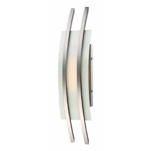 Nuvo Lighting Modern LED Sconce Wall Light with White Glass in Brush Nickel Finish 62/102