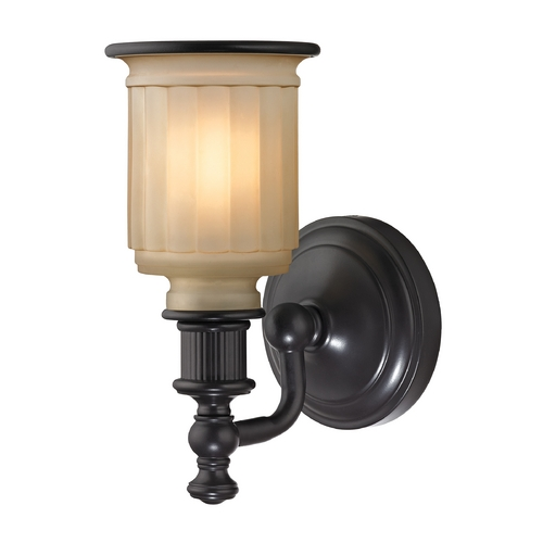 Elk Lighting Sconce Wall Light with Beige / Cream Glass in Oil Rubbed Bronze Finish 52010/1