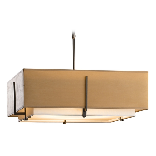 Hubbardton Forge Lighting Hubbardton Forge Lighting Exos Dark Smoke Pendant Light with Square Shade 139635-07-PFRB