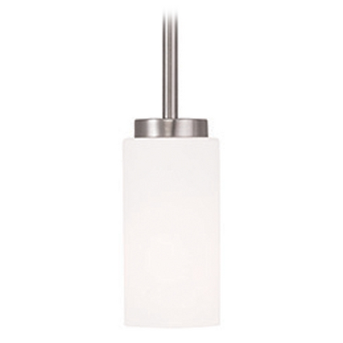 Livex Lighting Livex Lighting West Lake Brushed Nickel Mini-Pendant Light with Cylindrical Shade 16370-91