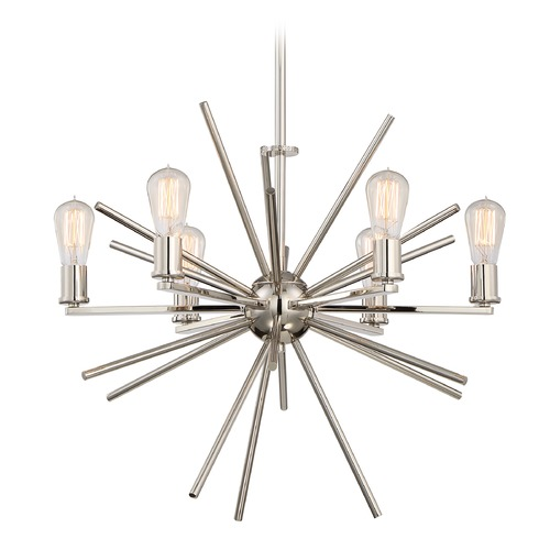 Quoizel Lighting Mid-Century Modern Cluster Chandelier Silver Uptown Carnegie by Quoizel Lighting UPCN5006IS