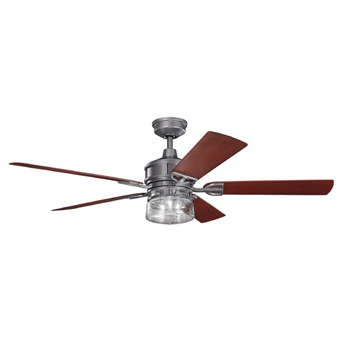 Kichler Lighting Kichler Lighting Lyndon Patio Weathered Steel Powder Coat Ceiling Fan with Light 310140WSP