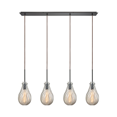 Elk Lighting Elk Lighting Cirrus Oil Rubbed Bronze Multi-Light Pendant with Bowl / Dome Shade 10453/4LP