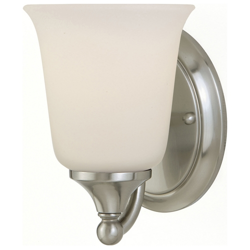 Home Solutions by Feiss Lighting Sconce Wall Light with White Glass in Brushed Steel Finish VS10501-BS