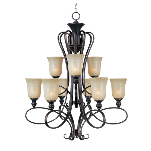 Maxim Lighting Chandelier with Beige / Cream Glass in Oil Rubbed Bronze Finish 21306WSOI