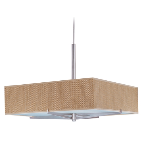ET2 Lighting Modern Pendant Light with Brown Shades in Satin Nickel Finish E95448-101SN