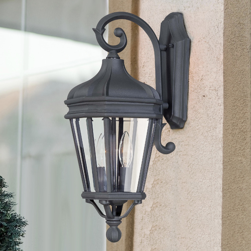 Minka Lavery Outdoor Wall Light with Clear Glass in Black Finish 8691-66