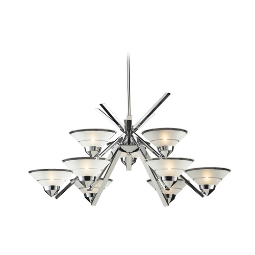 Elk Lighting Modern Chandelier with White Glass in Polished Chrome Finish 1476/6+3