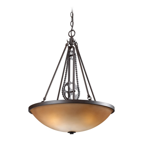 Elk Lighting Pendant Light with Amber Glass in Vintage Rust Finish 66265-3