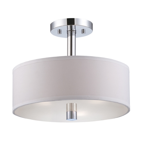 Designers Fountain Lighting Modern Semi-Flushmount Light with White Shades in Chrome Finish 84511-CH
